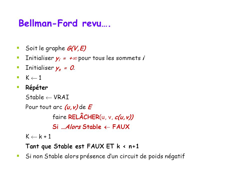 Bellman-Ford revu…. Soit le graphe G(V,E)