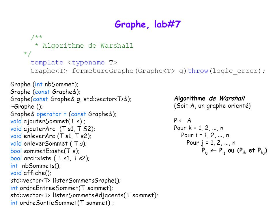 Graphe, lab#7 /** * Algorithme de Warshall */