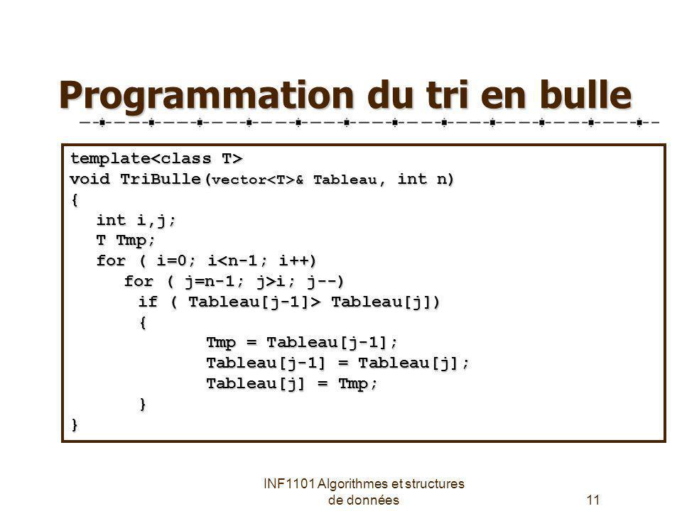 Programmation du tri en bulle