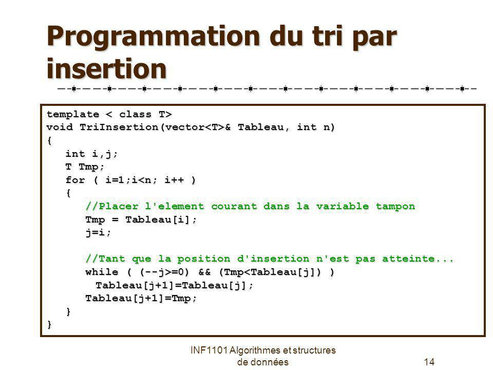 Programmation du tri par insertion