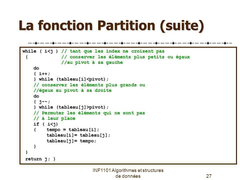 La fonction Partition (suite)