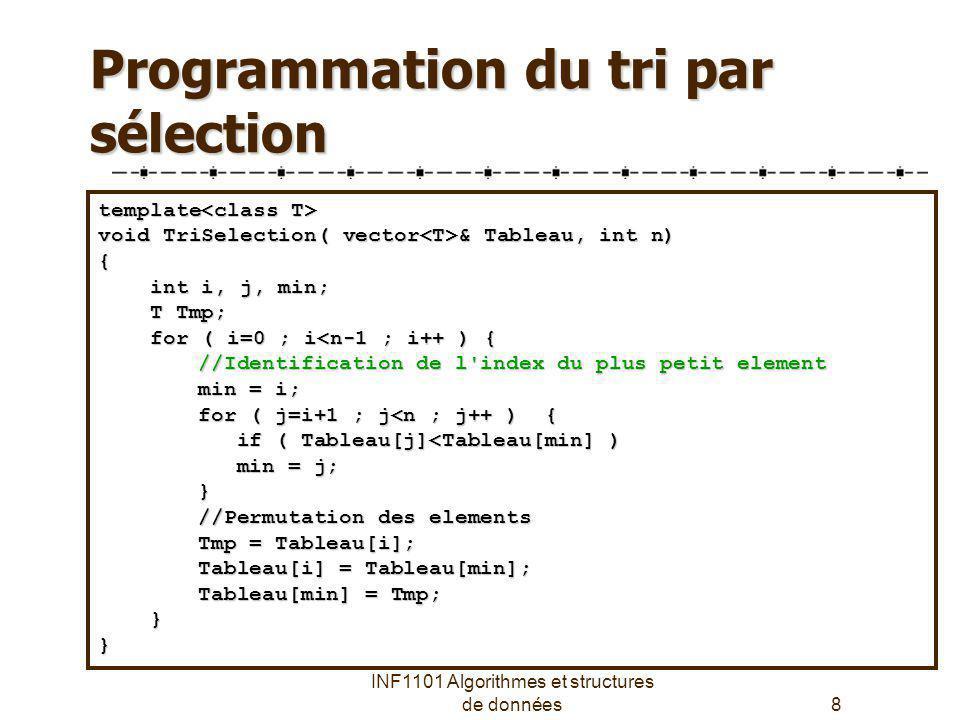 Programmation du tri par sélection