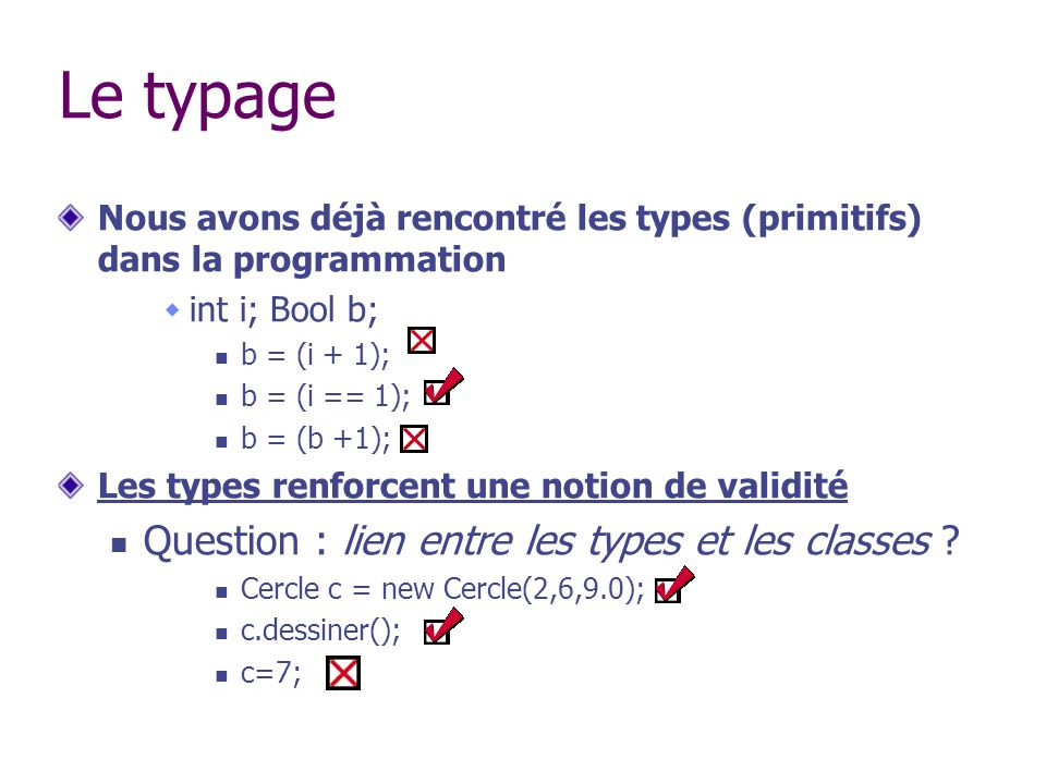 Le typage Question : lien entre les types et les classes