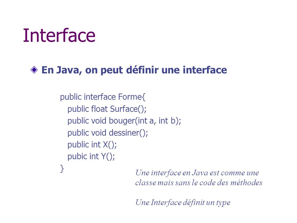Interface En Java, on peut définir une interface