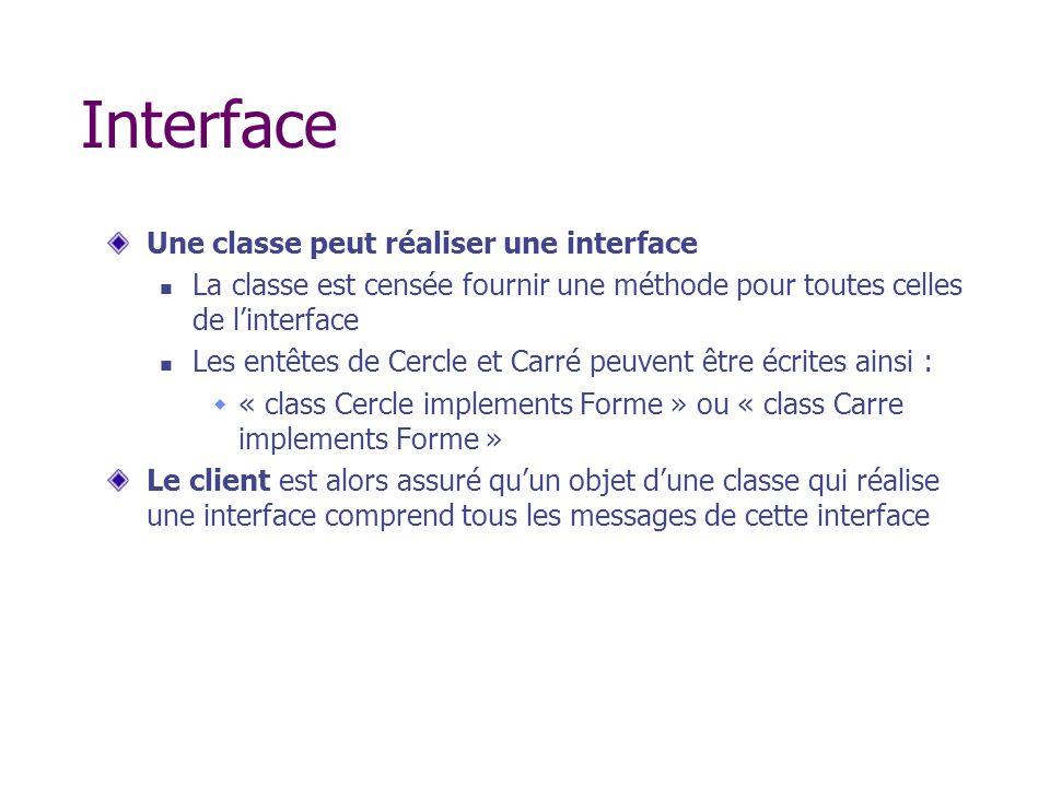 Interface Une classe peut réaliser une interface