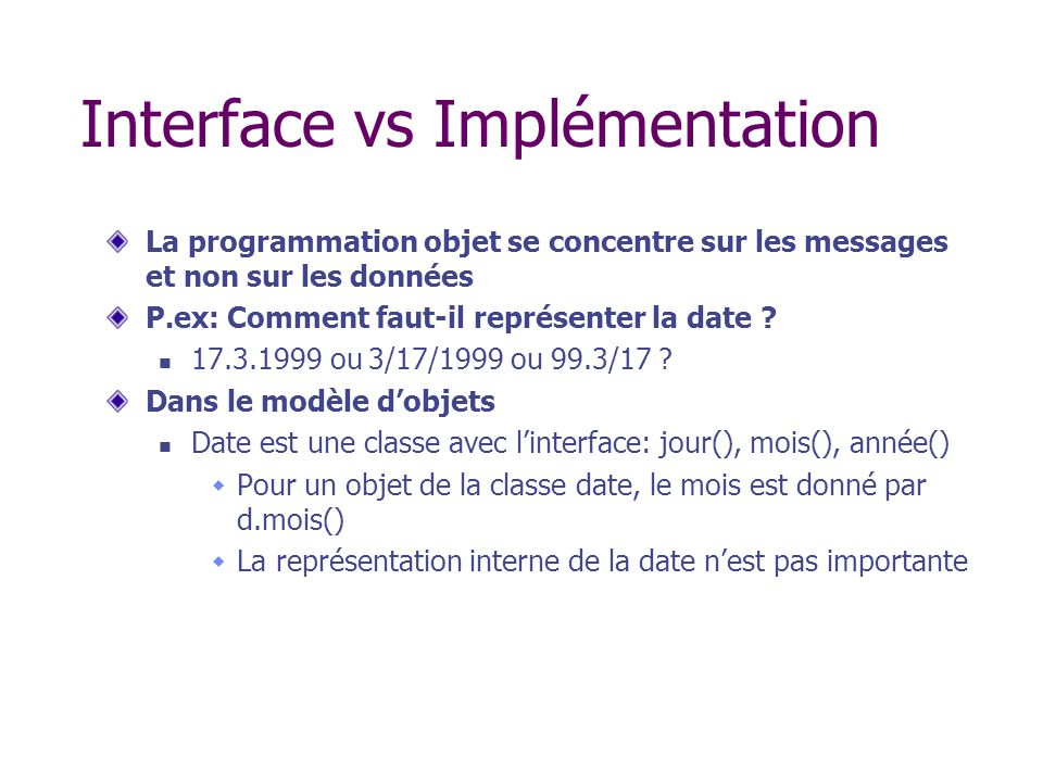 Interface vs Implémentation