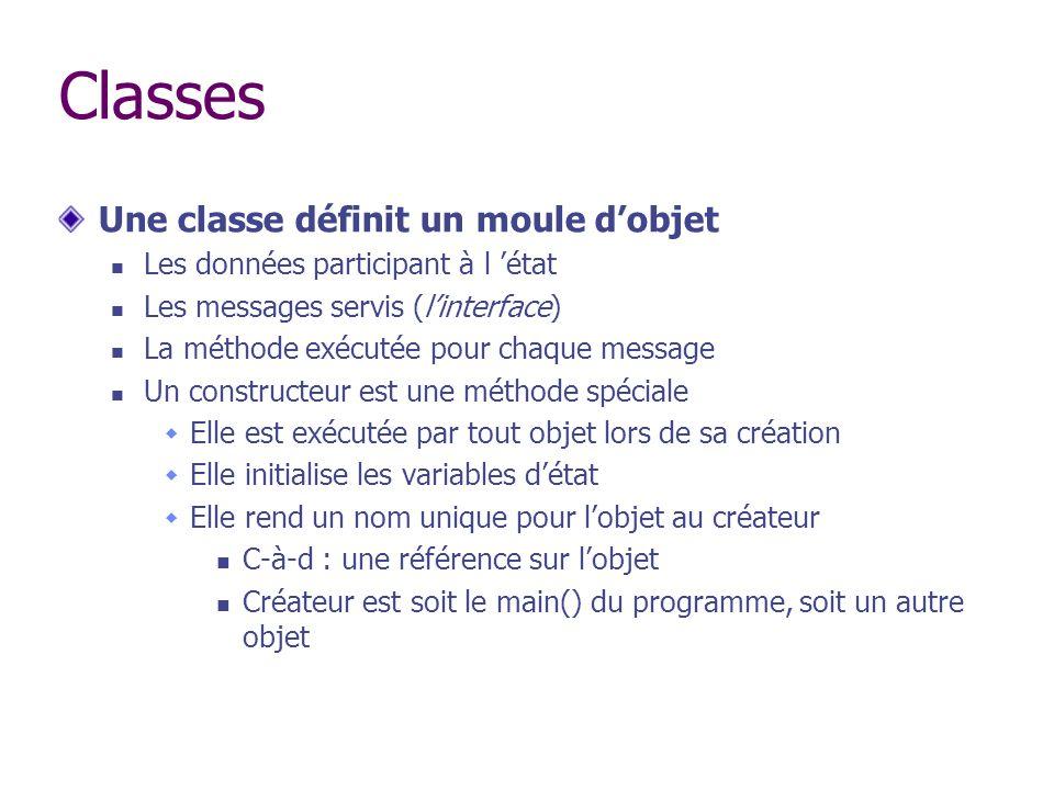 Classes Une classe définit un moule d'objet