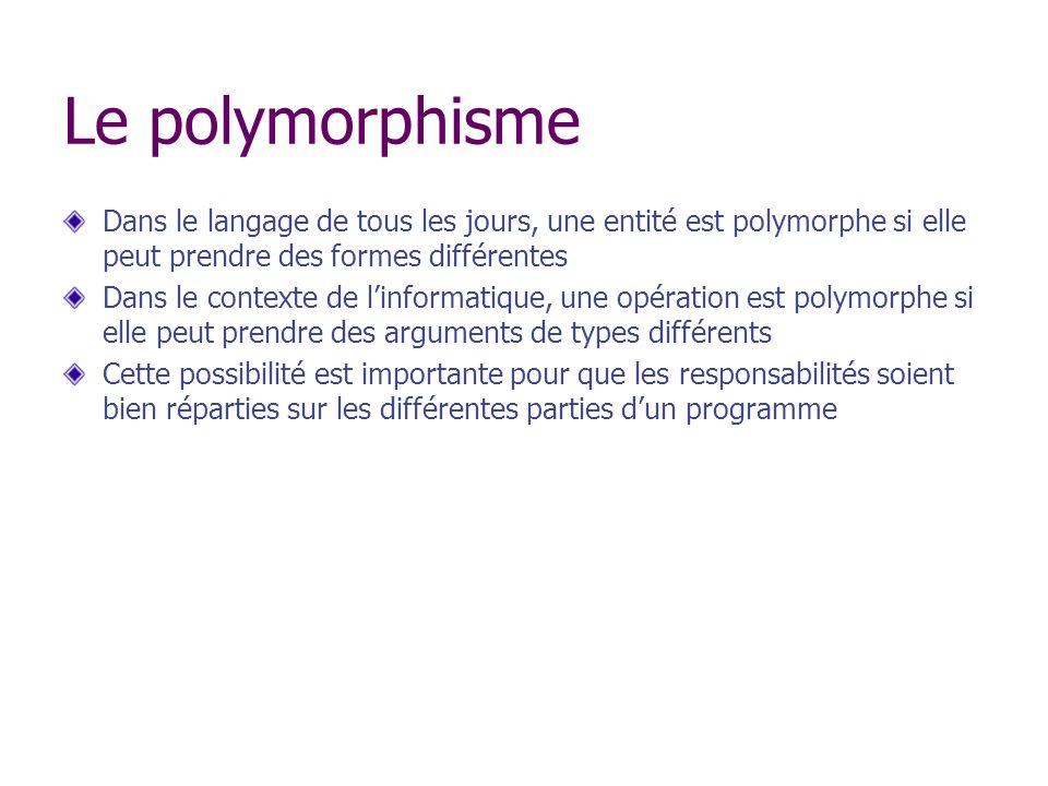 Le polymorphisme Dans le langage de tous les jours, une entité est polymorphe si elle peut prendre des formes différentes.