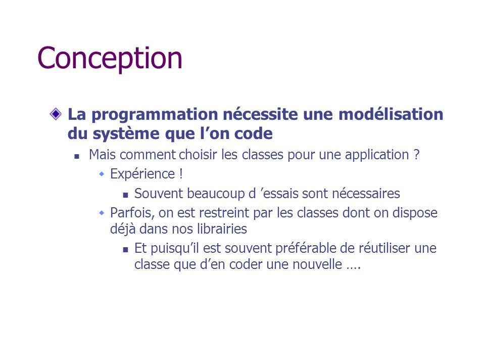 Conception La programmation nécessite une modélisation du système que l'on code. Mais comment choisir les classes pour une application