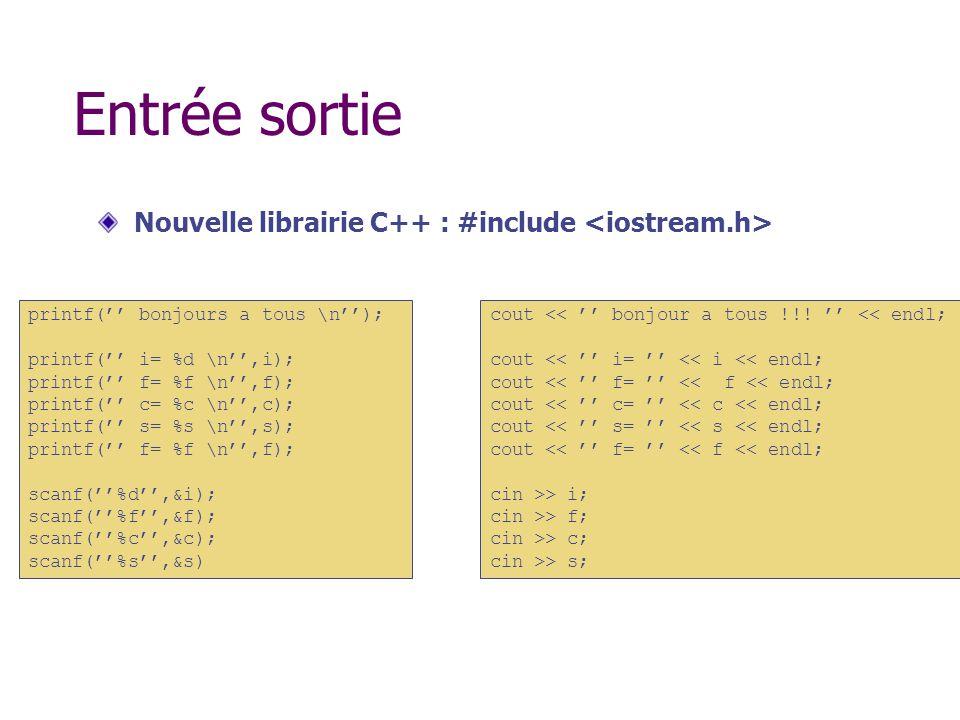 Entrée sortie Nouvelle librairie C++ : #include <iostream.h>