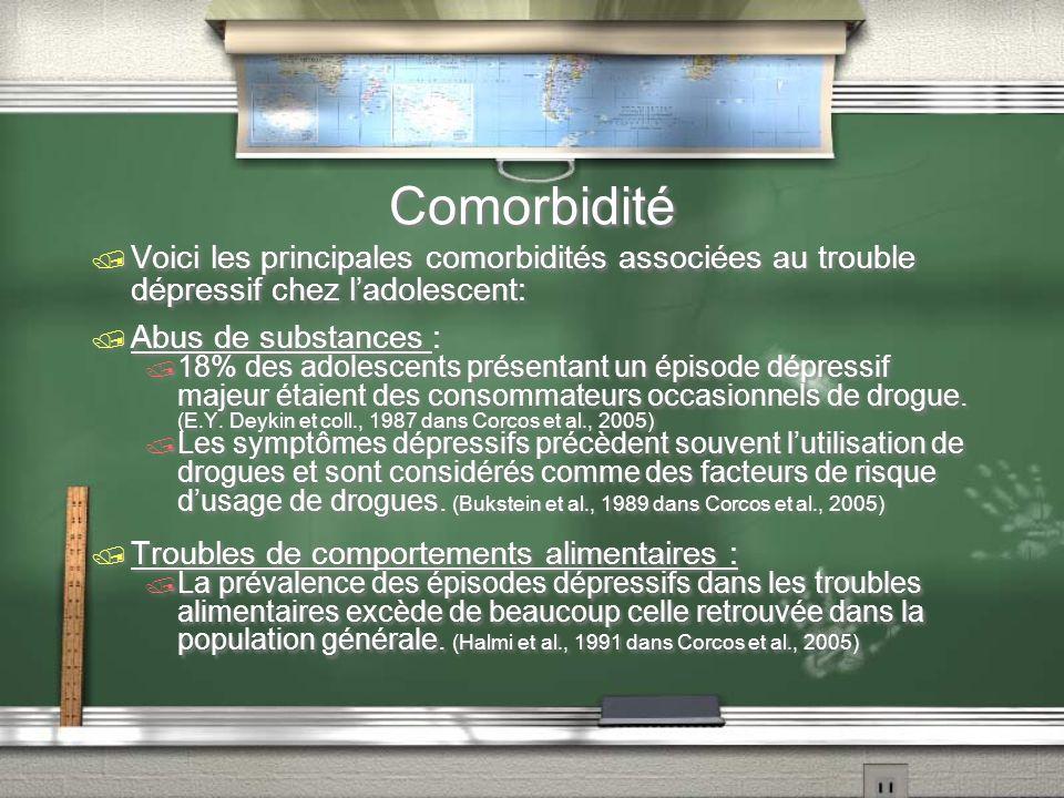 Comorbidité Voici les principales comorbidités associées au trouble dépressif chez l'adolescent: Abus de substances :