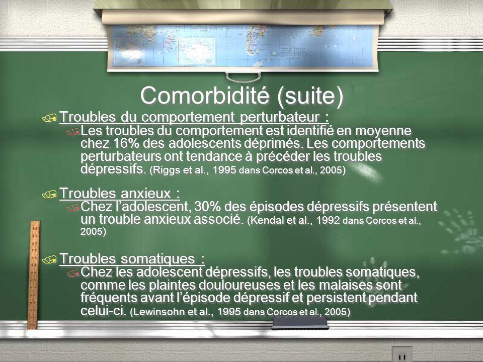 Comorbidité (suite) Troubles du comportement perturbateur :