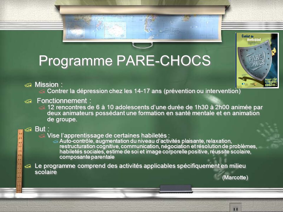 Programme PARE-CHOCS Mission : Fonctionnement : But :