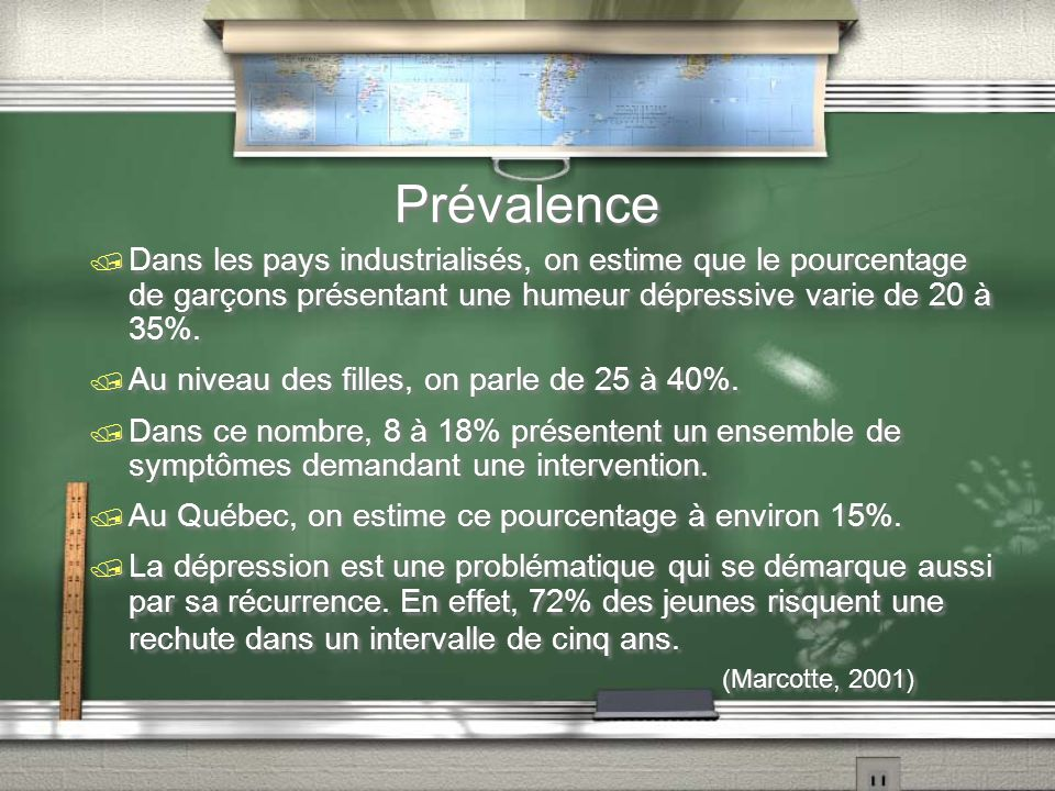 Prévalence (Marcotte, 2001)