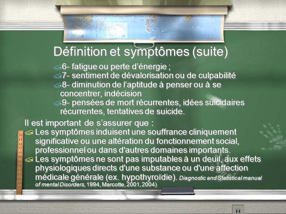 Définition et symptômes (suite)