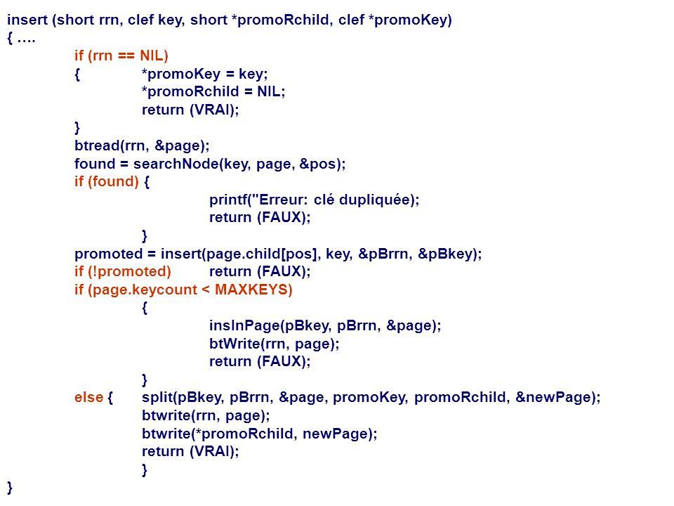 insert (short rrn, clef key, short *promoRchild, clef *promoKey)