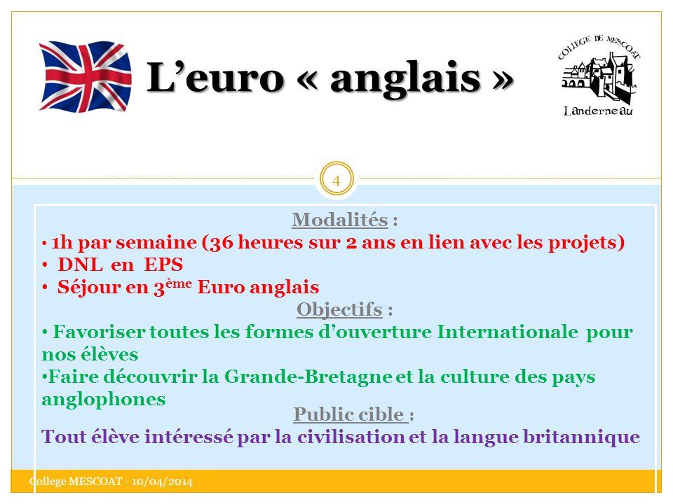 L'euro « anglais » Modalités : DNL en EPS Séjour en 3ème Euro anglais