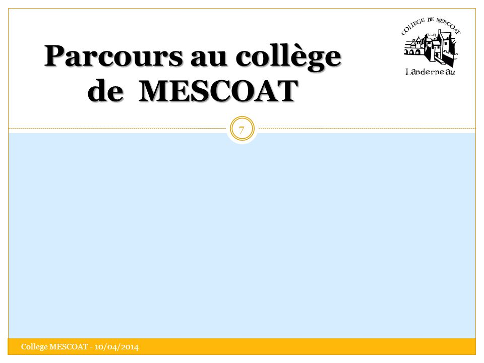 Parcours au collège de MESCOAT