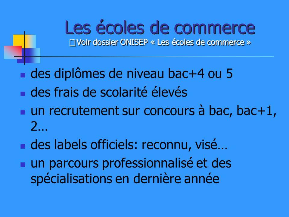Les écoles de commerce Voir dossier ONISEP « Les écoles de commerce »