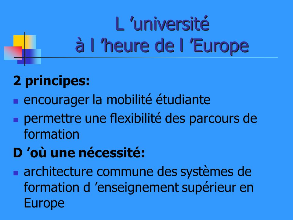 L 'université à l 'heure de l 'Europe