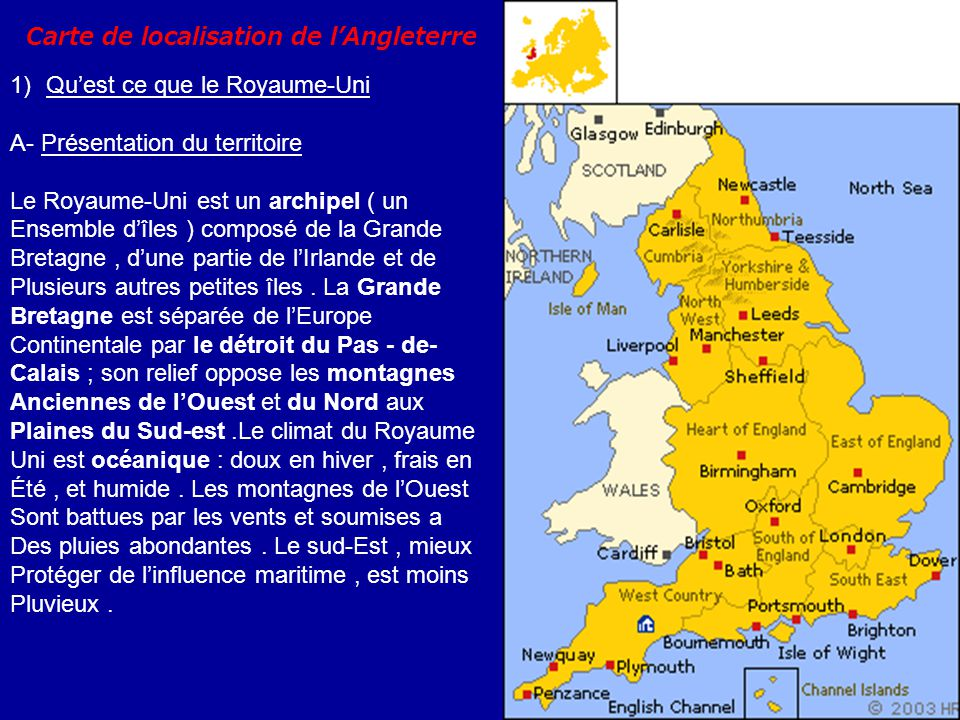 Carte de localisation de l'Angleterre