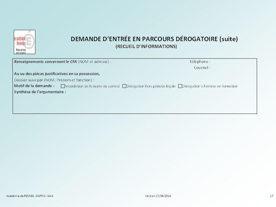 Académie de RENNES - DAFPIC - SAIA