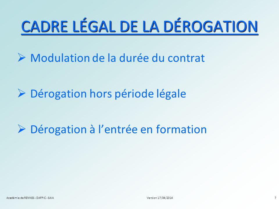 CADRE LÉGAL DE LA DÉROGATION