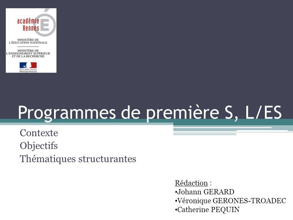 Programmes de première S, L/ES