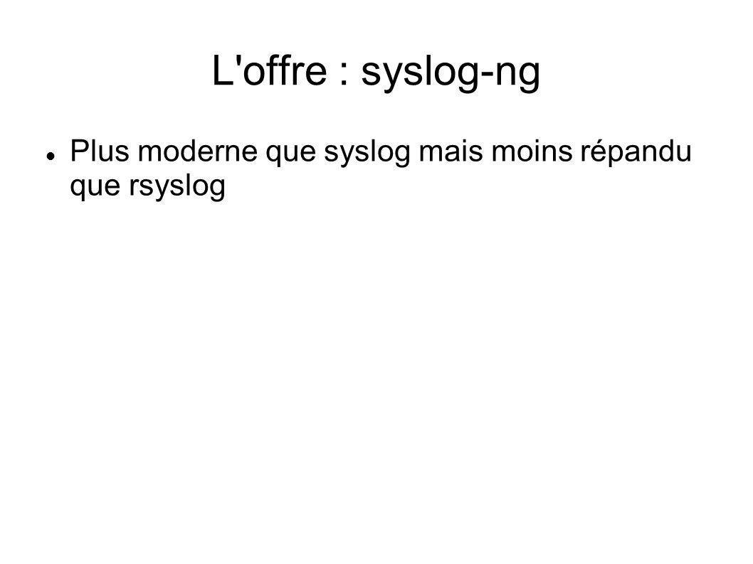 L offre : syslog-ng Plus moderne que syslog mais moins répandu que rsyslog