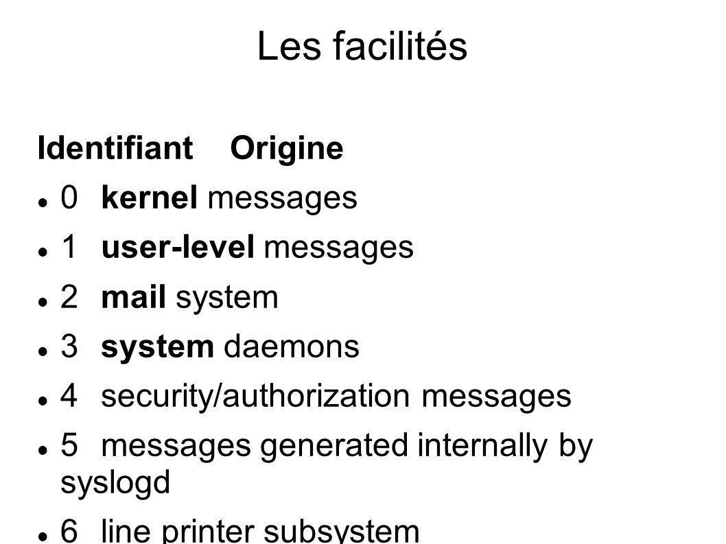 Les facilités Identifiant Origine 0 kernel messages