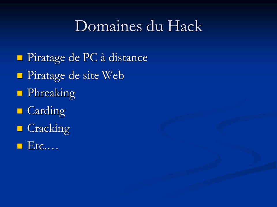 Domaines du Hack Piratage de PC à distance Piratage de site Web