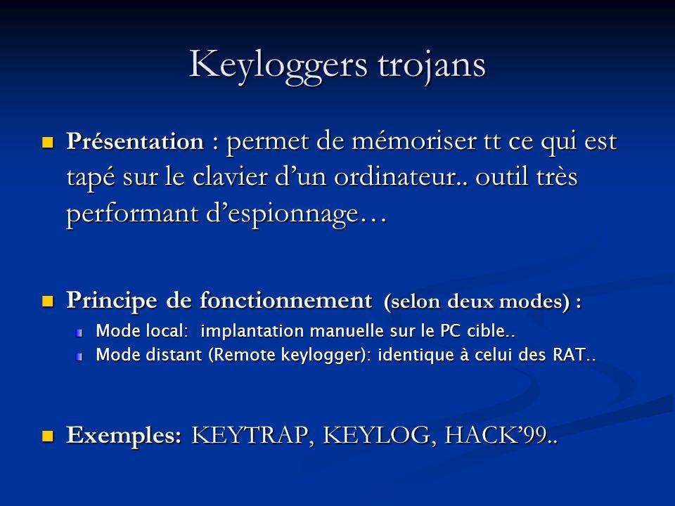 Keyloggers trojans Présentation : permet de mémoriser tt ce qui est tapé sur le clavier d'un ordinateur.. outil très performant d'espionnage…