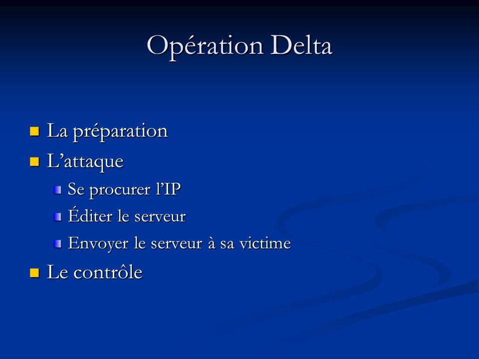 Opération Delta La préparation L'attaque Le contrôle Se procurer l'IP