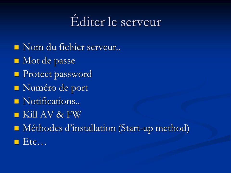 Éditer le serveur Nom du fichier serveur.. Mot de passe