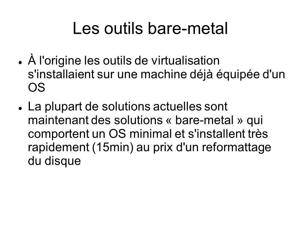 Les outils bare-metal À l origine les outils de virtualisation s installaient sur une machine déjà équipée d un OS.