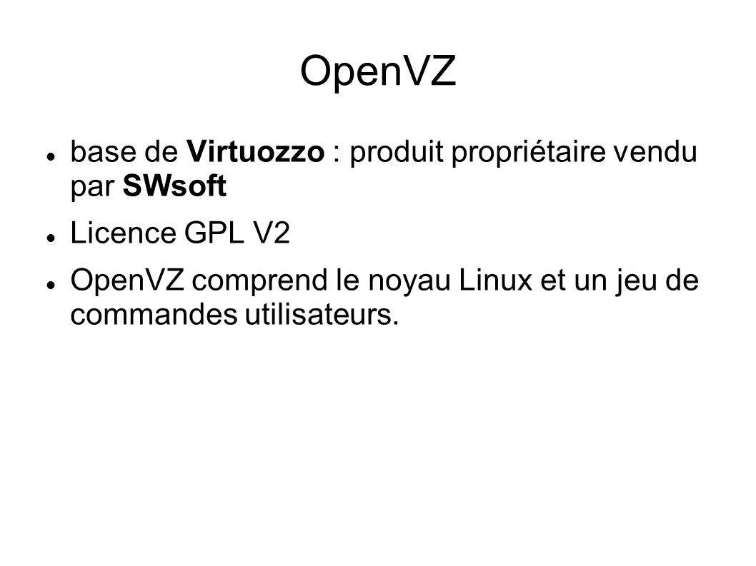 OpenVZ base de Virtuozzo : produit propriétaire vendu par SWsoft