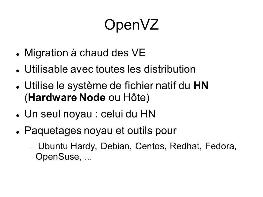 OpenVZ Migration à chaud des VE