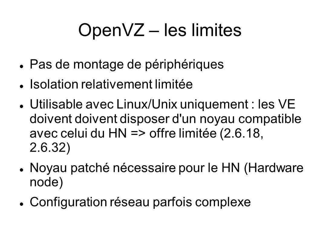OpenVZ – les limites Pas de montage de périphériques