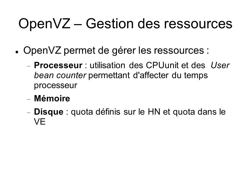 OpenVZ – Gestion des ressources