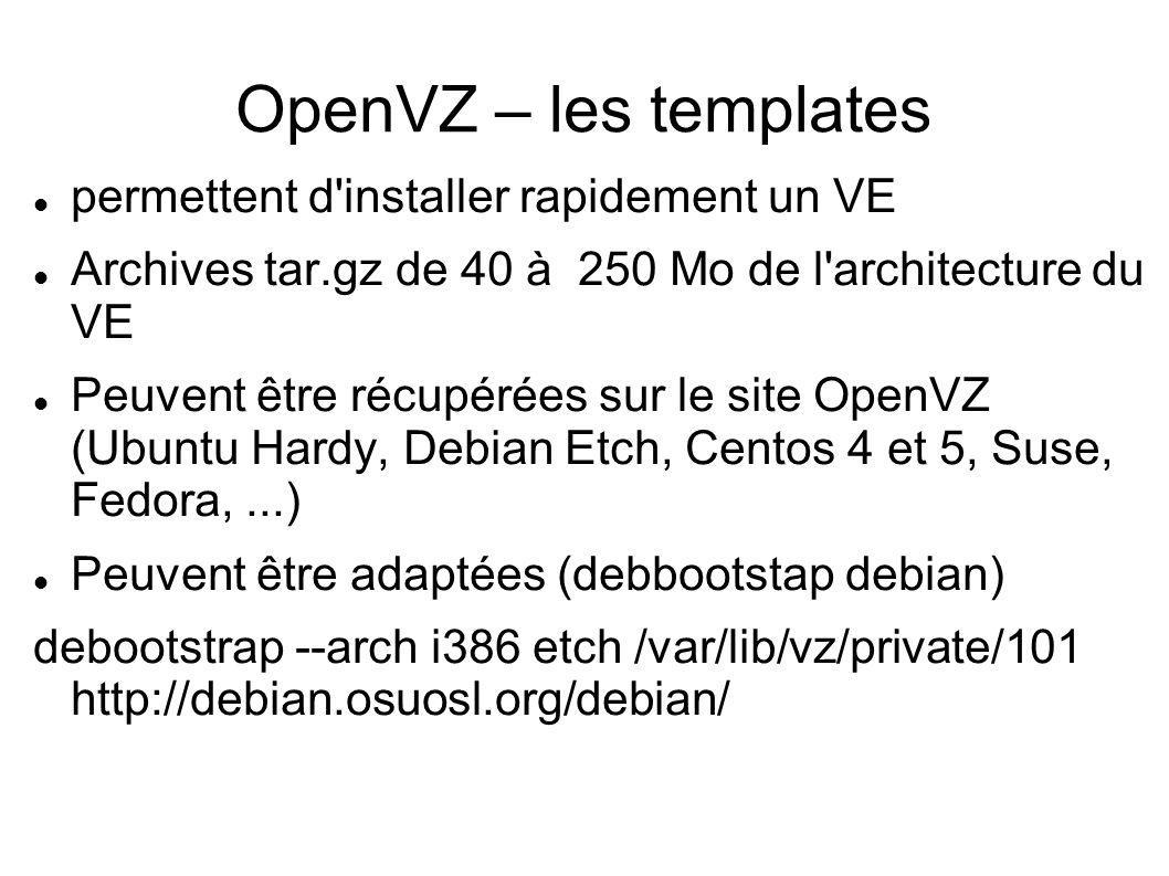 OpenVZ – les templates permettent d installer rapidement un VE
