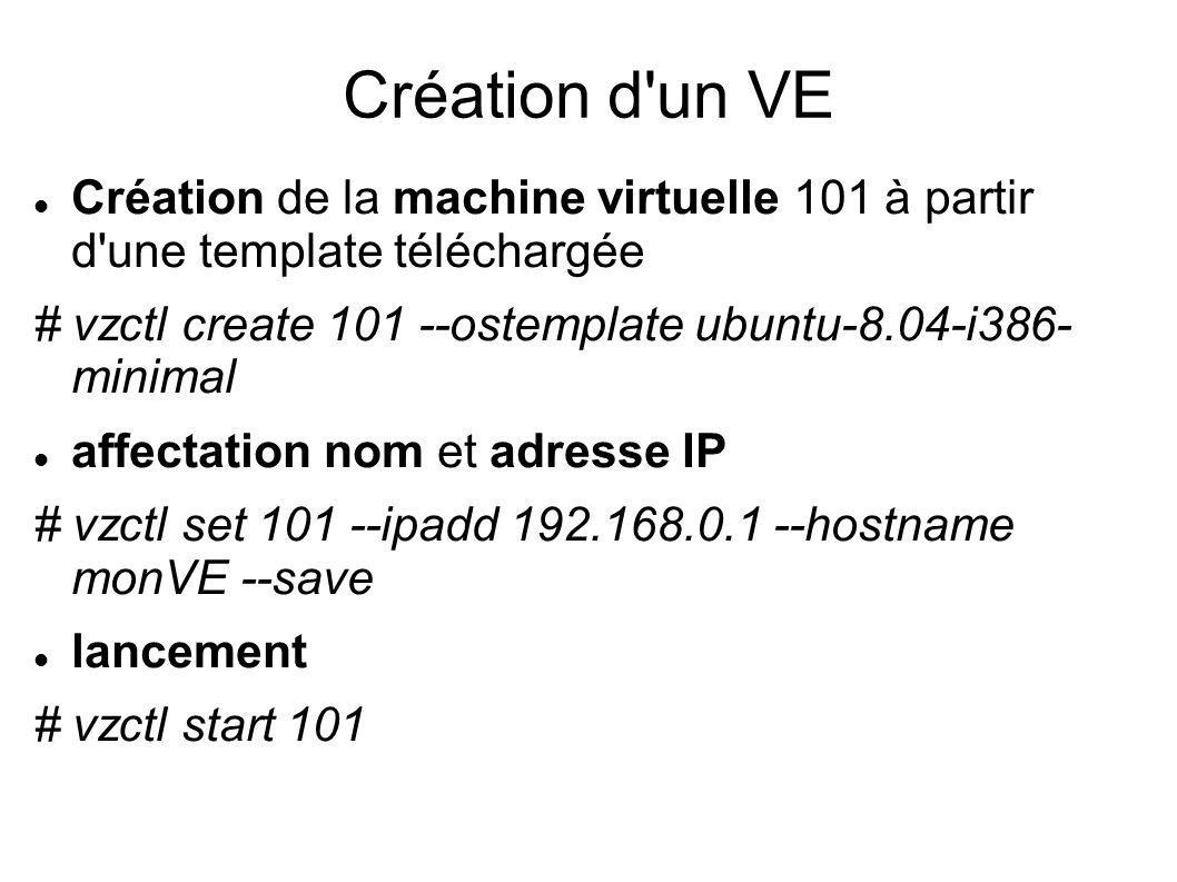 Création d un VE Création de la machine virtuelle 101 à partir d une template téléchargée.