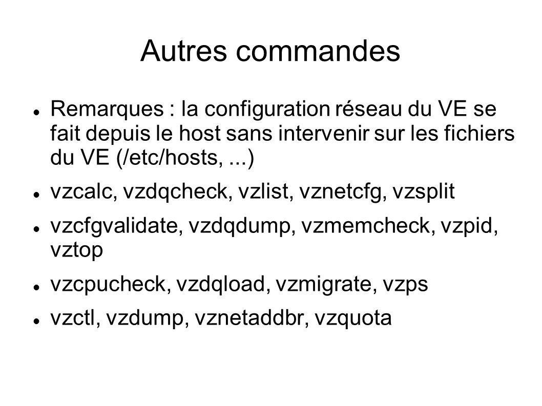 Autres commandes Remarques : la configuration réseau du VE se fait depuis le host sans intervenir sur les fichiers du VE (/etc/hosts, ...)