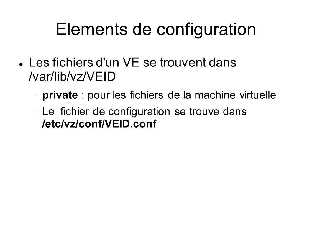 Elements de configuration