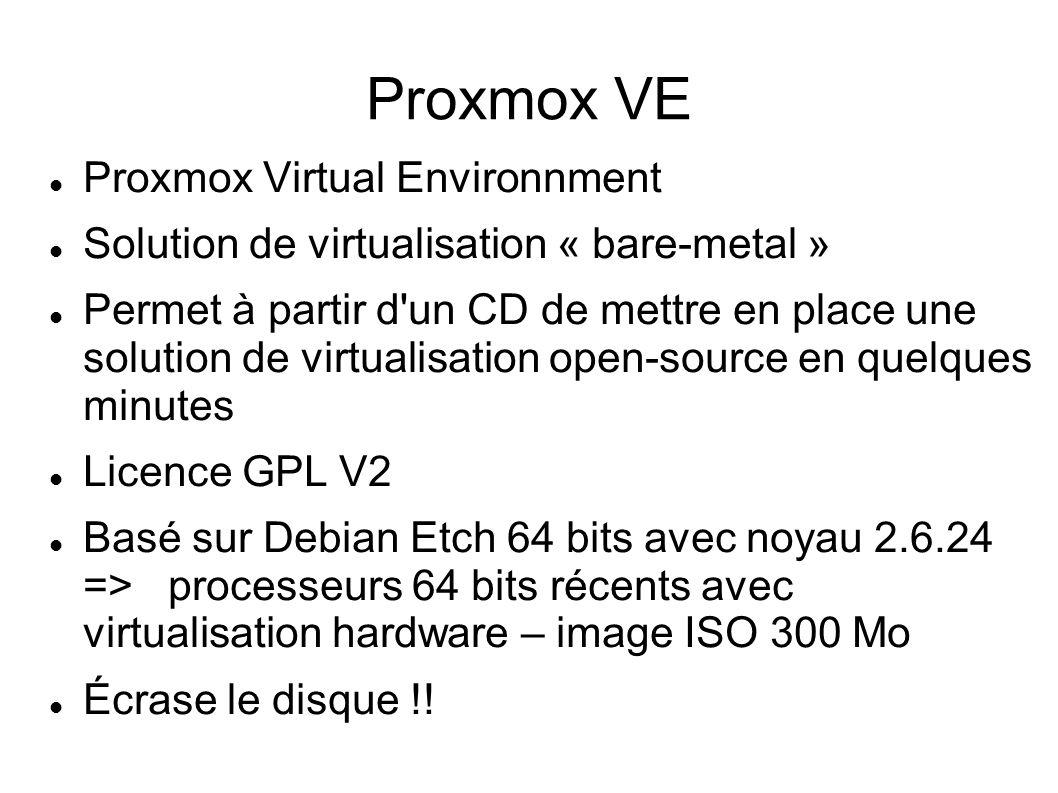 Proxmox VE Proxmox Virtual Environnment