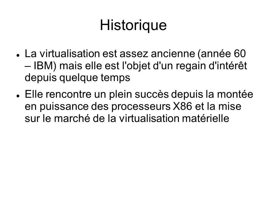 Historique La virtualisation est assez ancienne (année 60 – IBM) mais elle est l objet d un regain d intérêt depuis quelque temps.