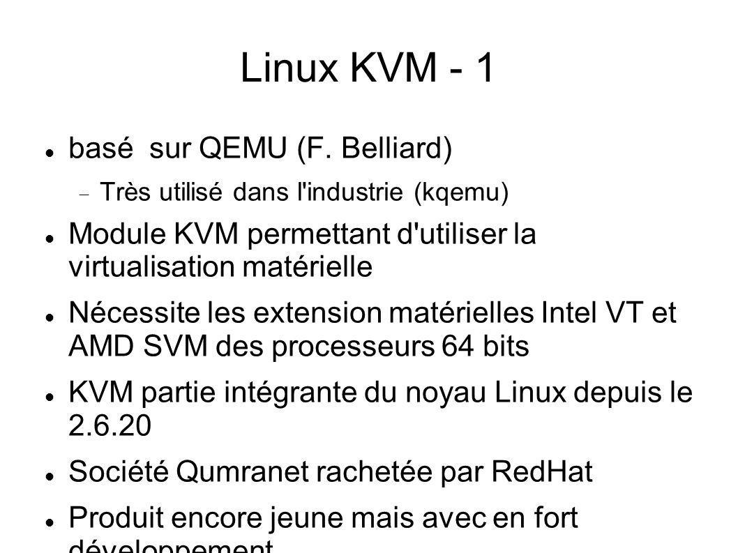 Linux KVM - 1 basé sur QEMU (F. Belliard)