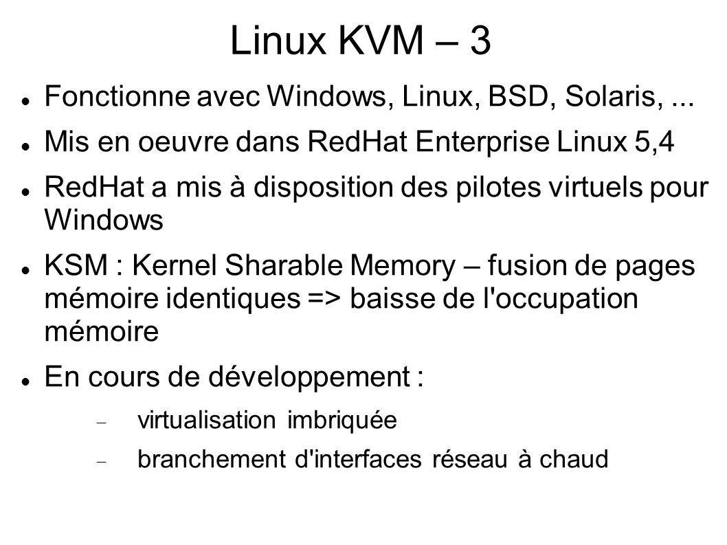 Linux KVM – 3 Fonctionne avec Windows, Linux, BSD, Solaris, ...