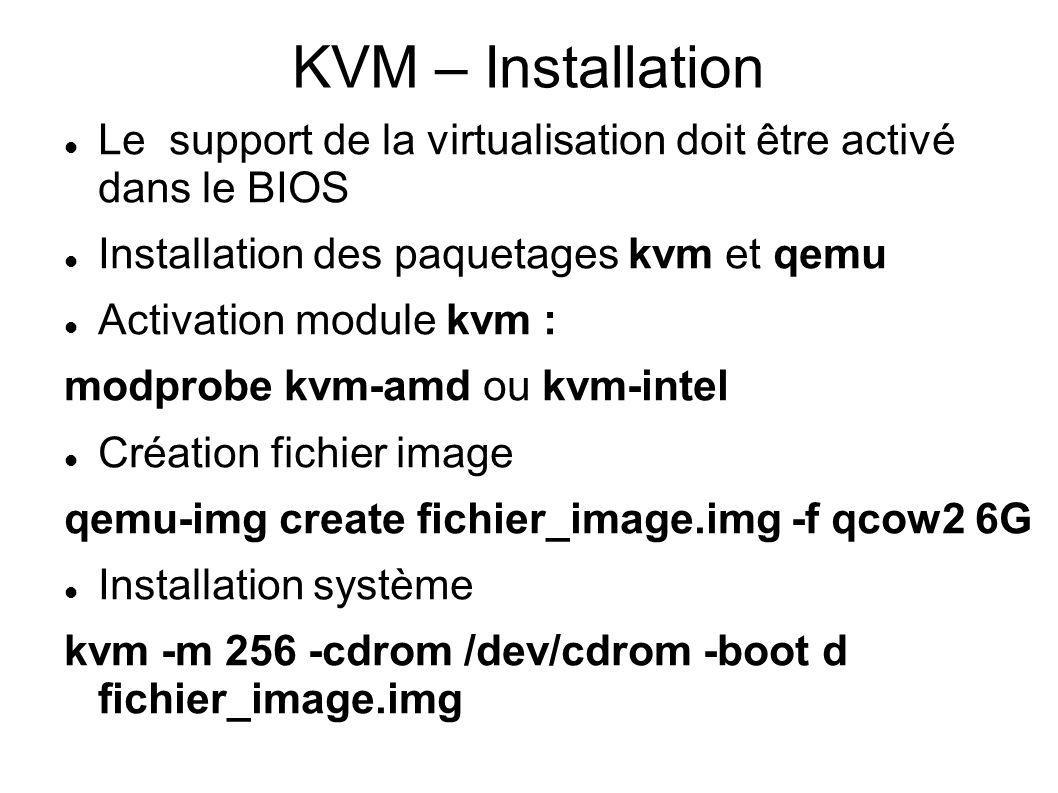 KVM – Installation Le support de la virtualisation doit être activé dans le BIOS. Installation des paquetages kvm et qemu.