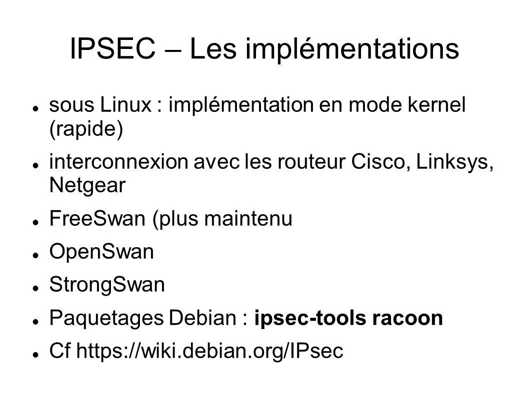 IPSEC – Les implémentations