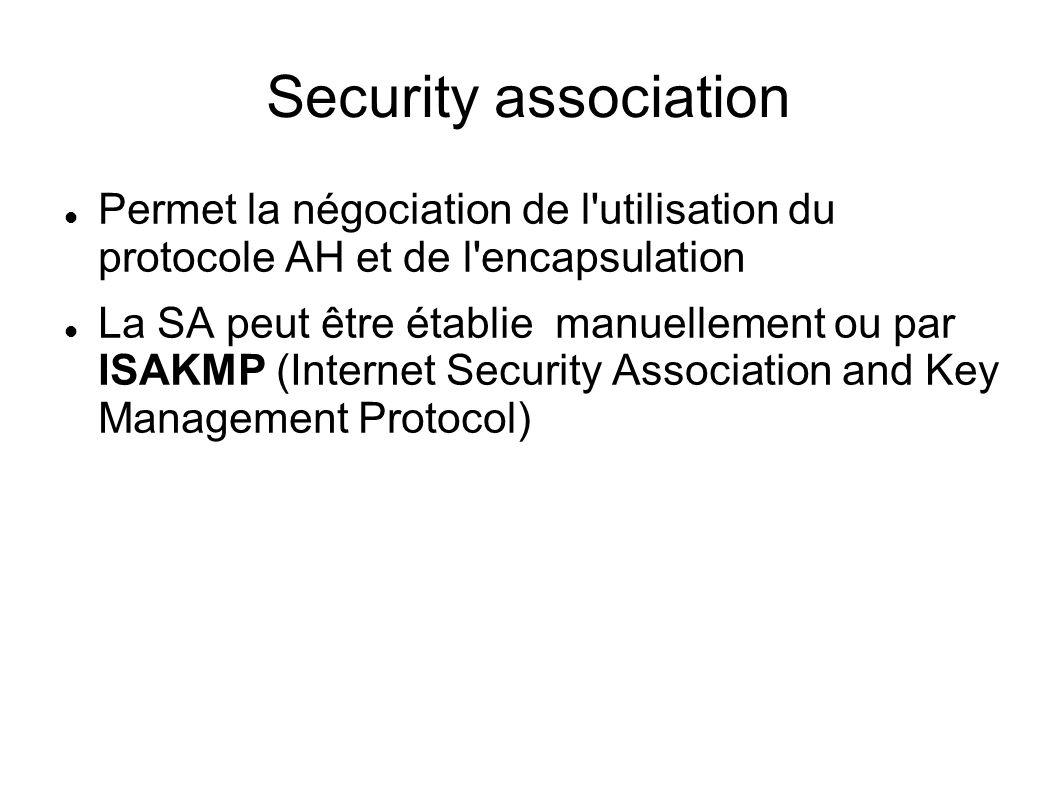 Security association Permet la négociation de l utilisation du protocole AH et de l encapsulation.